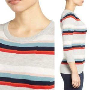 Halogen Striped Scoop Neck 3/4 Sleeve Sweater